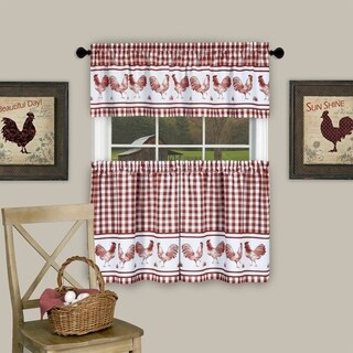 """3 Piece Barnyard Buffalo Check Rooster Tier and Valance Curtain Set- 36"""" Burgundy"""