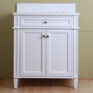 """Home Elements S-Series VSq30211WT 30"""" Quartz Top Cream White Vanity"""