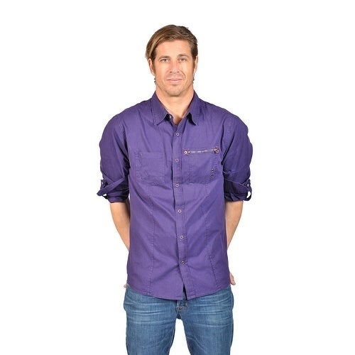 Overdrive Men's Purple Dress Shirts (S) (Cotton, Solid)
