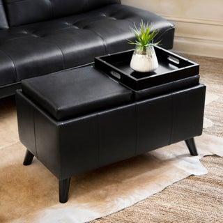 Abbyson Venice Bonded Leather Convertible Ottoman