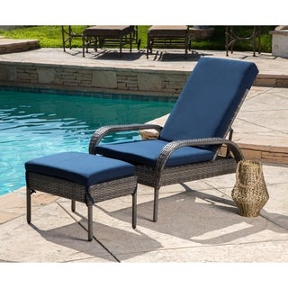 Abbyson Newport Navy Outdoor Grey Wicker Adjustable Patio Chaise and Ottoman with Cushion