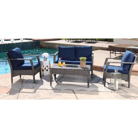 Abbyson Venetian Navy Outdoor Grey Wicker 4 Piece Patio Seating Set