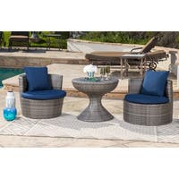 Abbyson Palermo Outdoor Grey Wicker 3 Piece Patio Seating Set