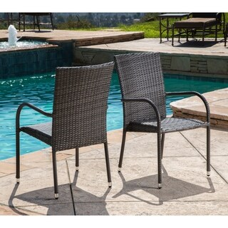 Abbyson Palermo Outdoor Wicker Patio Dining Arm Chair Set of 2, Grey
