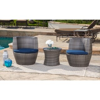 Abbyson Newport Outdoor Grey Wicker 3 Piece Patio Bistro Set