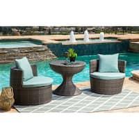Abbyson Palermo Outdoor Grey Wicker 3 Piece Patio Seating Set