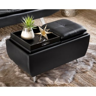 Abbyson Brandon Black Bonded Leather Flip Top Ottoman
