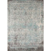 Momeni Luxe Pesaro Turquoise/Grey Transitional Area Rug (9'3 x 12'6)