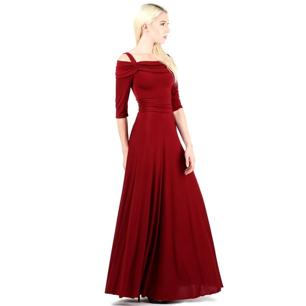 Evanese Women's Plus 3/4 Sleeves Slip on Formal Long Party Dress Gown