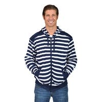 Mens Hooded Striped Shoulder Badge Zip-Up Sweaters Navy