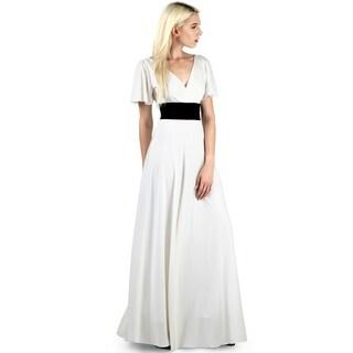 Evanese Women's Plus Elegant Short Sleeves Formal Long Dress Gown