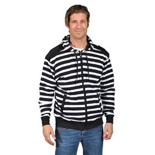 Mens Hooded Striped Shoulder Badge Zip-Up Sweaters Black