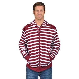 Mens Hooded Striped Shoulder Badge Zip-Up Sweaters Burgundy