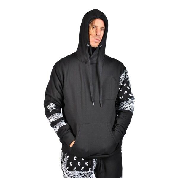 Mens Hoodies Drawstring Zipped Chest Pocket Tribal Print Design on Sleeve  Black ecc27edcb