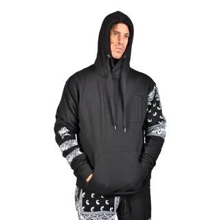 Mens Hoodies Drawstring Zipped Chest Pocket Tribal Print Design on Sleeve Black