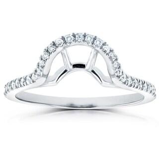 Annello by Kobelli 14k Gold 1/4ct TDW Diamond Notched Basket Curve Wedding Band