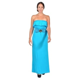 Womens Tube Top Belted Maxi Dress Blue