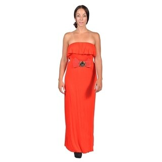 Womens Tube Top Belted Maxi Dress Pink (3 options available)