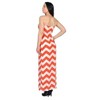 Women's Orange Strapless Dresses Orange