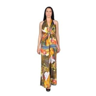 Womens Fashion Neck Strap Jumpsuit Yellow