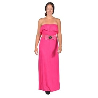 Womens Tube Top Belted Maxi Dress Pink