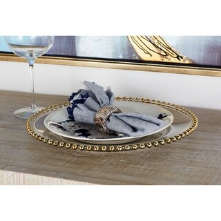 Modern Round Gold-Beaded Rim Glass Charger Plate
