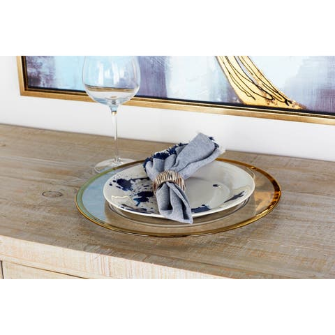 Modern 13 Inch Thin Gold-Rimmed Glass Charger Plate by Studio 350