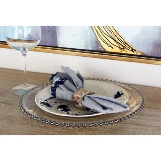 Modern Round Silver-Beaded Rim Glass Charger Plate