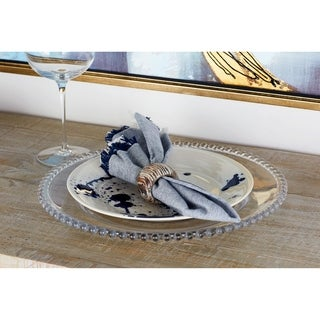 Modern Round Beaded Rim Glass Charger Plate