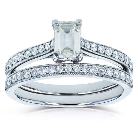 Annello by Kobelli 14k Gold 1ct TGW Emerald Moissanite and Diamond Square Euro Shank Vintage Trellis Bridal Rings Set