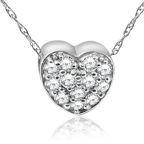 Shop Pompeii3 14k White Gold 1/4 Ct TDW Diamond Pave Heart