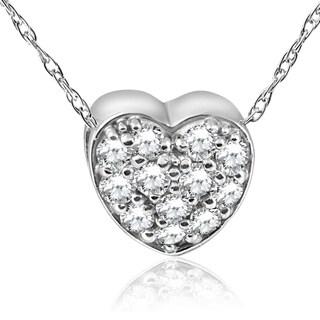 Pompeii3 14k White Gold 1 4 Ct TDW Diamond Pave Heart Pendant