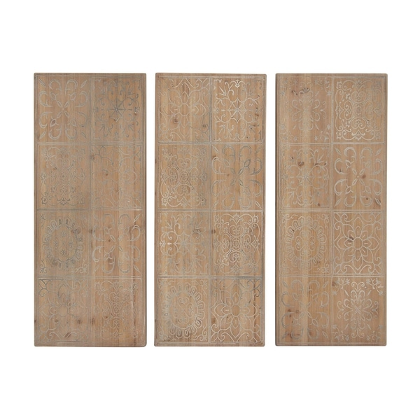 Set Of 3 Rustic Chinese Fir Wood Panels Wall Decor