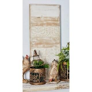 Set of 2 Rustic Fir Wood Rectangular Scrollwork Wood Wall Plaque