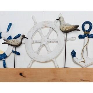 Coastal Distressed White Wooden Ship'S Wheel Wall Decor
