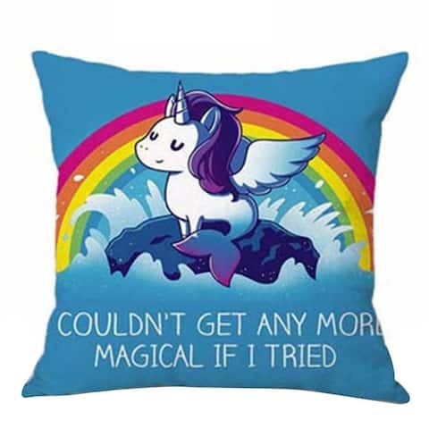 Cotton Linen PIllow Case 4 Unicorn Magical 18 x 18