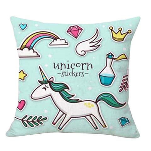 Cotton Linen PIllow Case 9 Unicorn Stickers 18 x 18