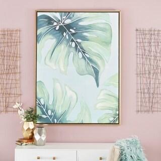 Modern Fir Wood Framed Palm Leaf Canvas Art