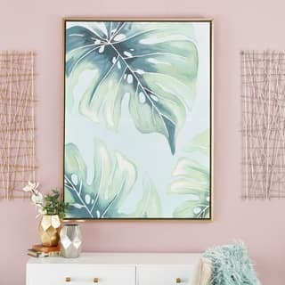 "Large Canvas Wall Art with Tropical Leaf Design 36"" x 47"" - Green"