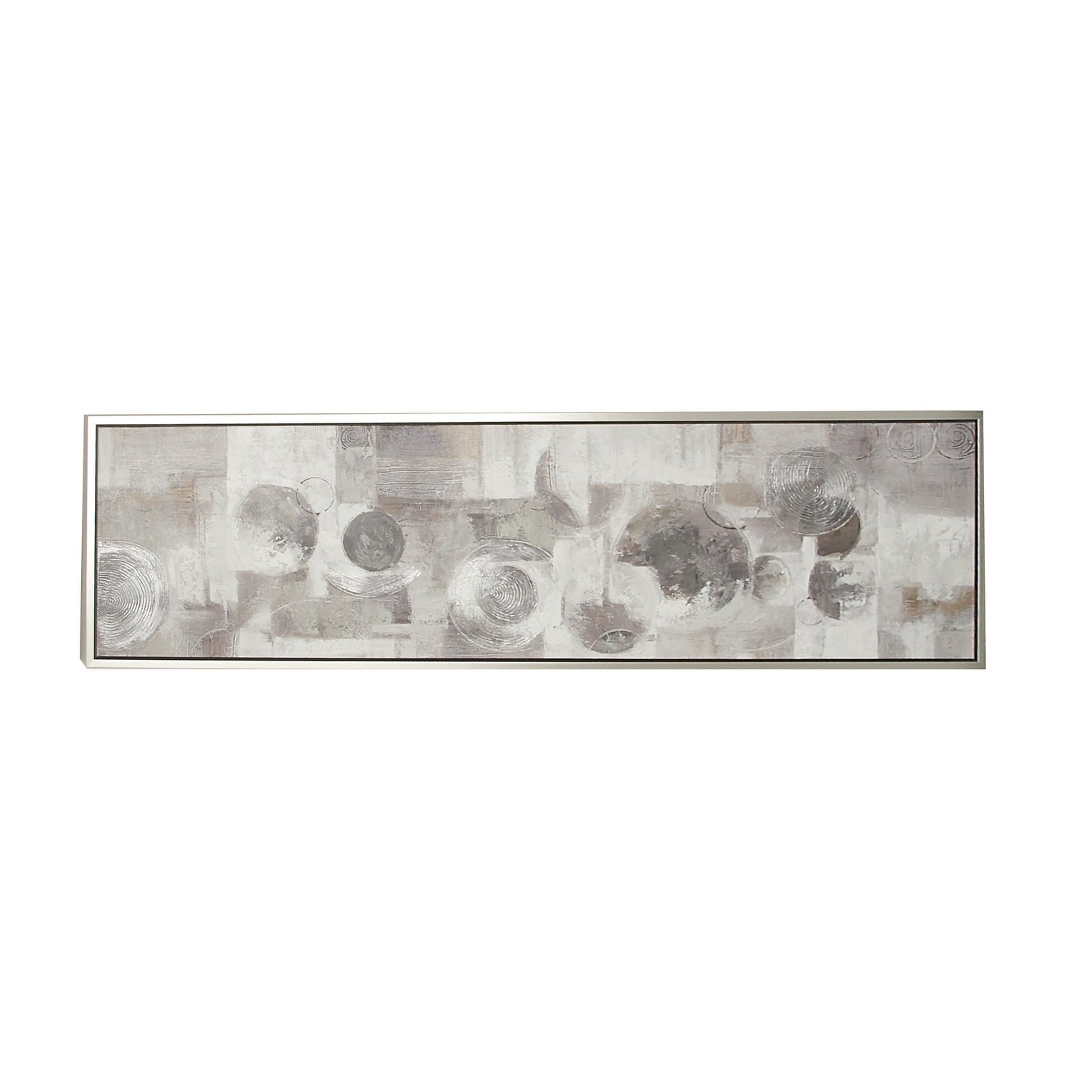 Large Rectangular Gray Black White Abstract Circles Contemporary Painting In Silver Frame 70 X 20 Grey