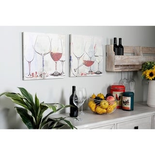Set of 2 Canvas and Wood Painted Wine Goblets Framed Wall Art
