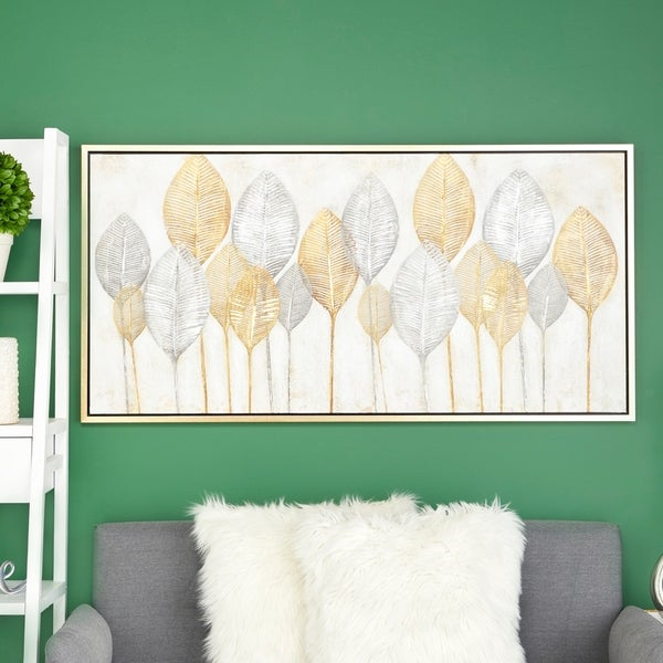 Shop Large Rectangular Gold Silver Leaves Acrylic Painting Wall