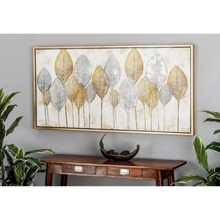 Natural Wood and Canvas Painted Veined Leaves Rectangular Wall Art
