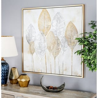 "Large Square Gold and Silver Painted Leaf Canvas Wall Art 40"" x 40"" - Multi-color"