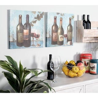 Set of 2 Rustic Canvas and Wood Wine Bottles and Goblets Wall Art