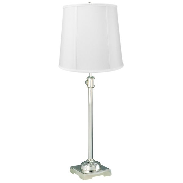 State Street Adjustable Table Lamp Shiny Silver Base with White Drum Lampshade
