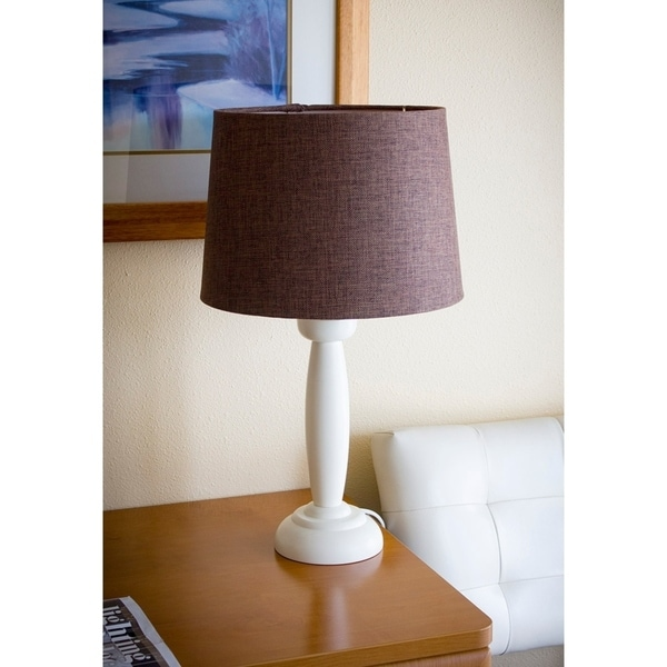 Round White Wooden Table Lamp Base by Laura Ashley with Hardback Drum Chocolate Burlap Shade
