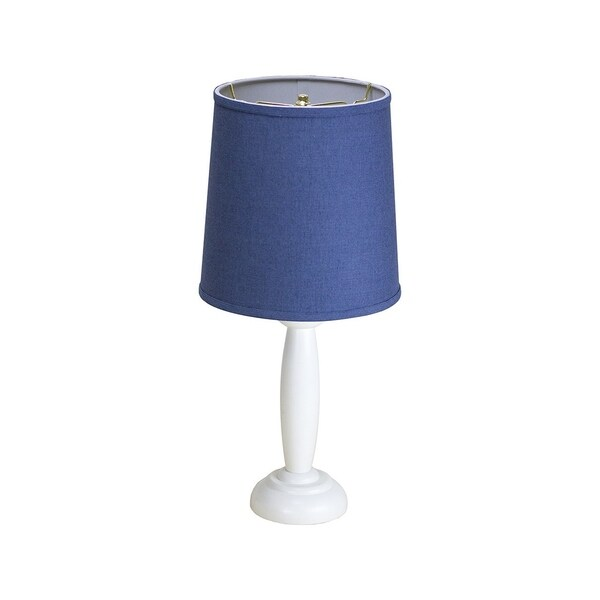 Round White Wooden Table Lamp Base by Laura Ashley with Drum Shantung Blue Shade