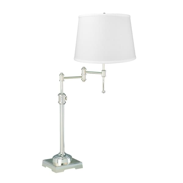 State Street Swing Arm Table Lamp Shiny Silver Base with White Lampshade