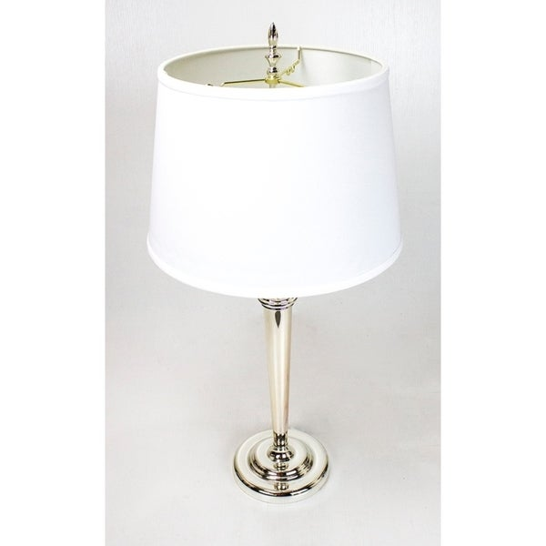Bianca Table Lamp Shiny Silver Base by Laura Ashley with White Floor Shade